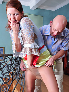 Mischievous maid in her sheertowaist pantyhose getting fucked in the ass