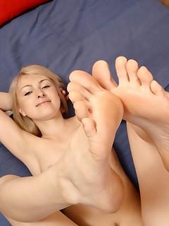 Cute girl loves her feet!