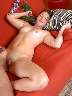 Lucky guy fucks the cutest chubby chick ever and showers her sexy belly with hot spunk