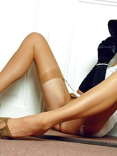 Crazylong sexy legs in sheer vintage stockings
