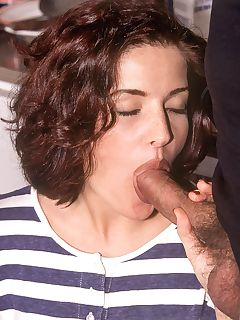 Sexy brunette ends up eating cock and swallowing warm cum