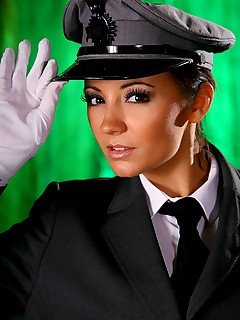 Rachael B gives a real treat as she slips out of the driver uniform
