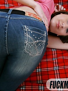 Brunette gets button up blue jeans peeled off for deep anal fucking