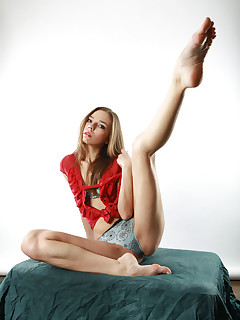 Sophisticated and flexible brunette Tracy poses while nearly naked