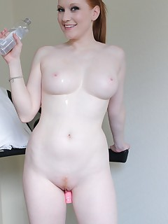 Lucy Ohara works ups a sweat while working out so she cools down by cumming hard